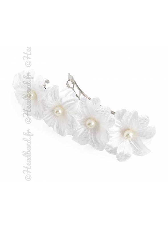Barrette clip fleur blanche bohème
