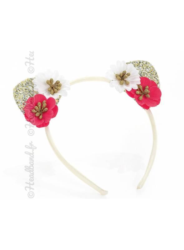Serre-tête fille oreilles chat glitter et fleurs