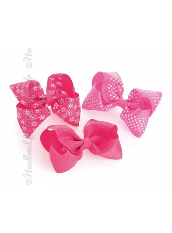 Assortiment de 3 pinces noeud enfant rose