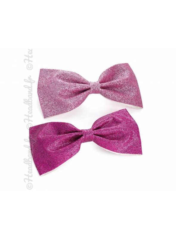 Pince cheveux noeud pailleté rose