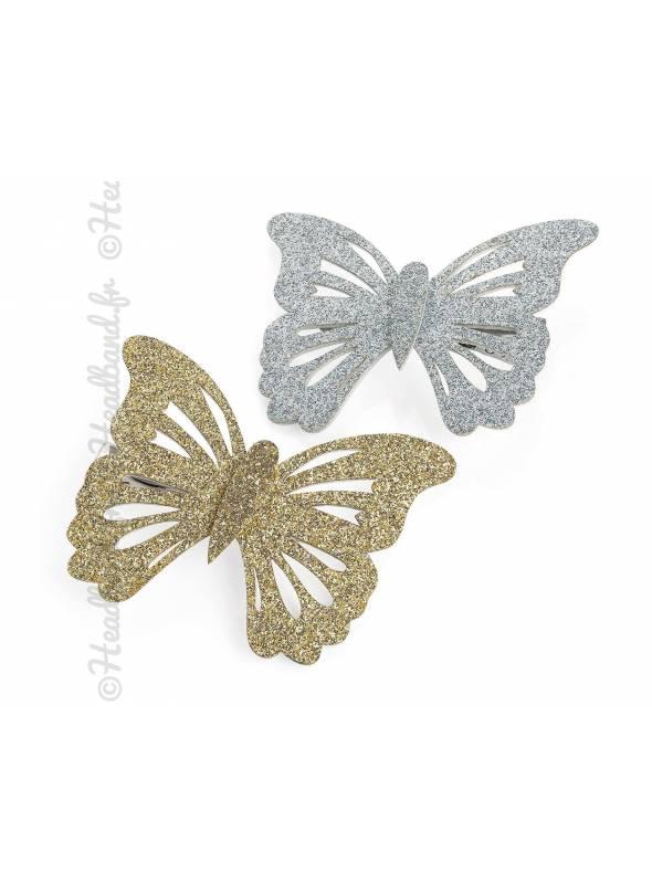 Assortiment de 2 barrettes papillon à paillettes