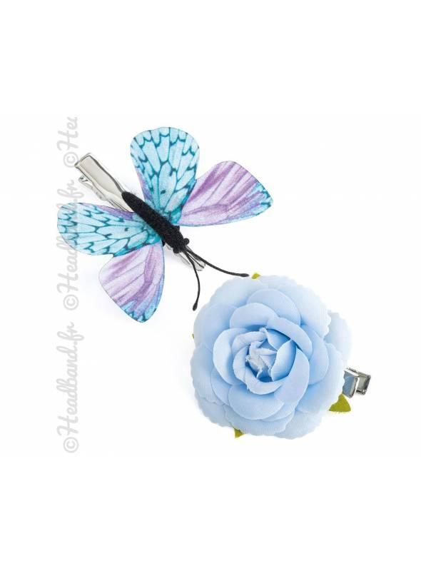 Pince fleur camélia bleu et papillon