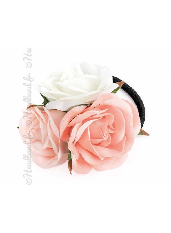 Elastique cheveux avec 3 roses