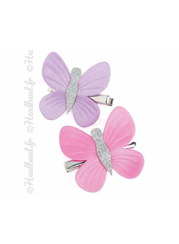 Pinces papillon tissu mauve et rose lot de 2