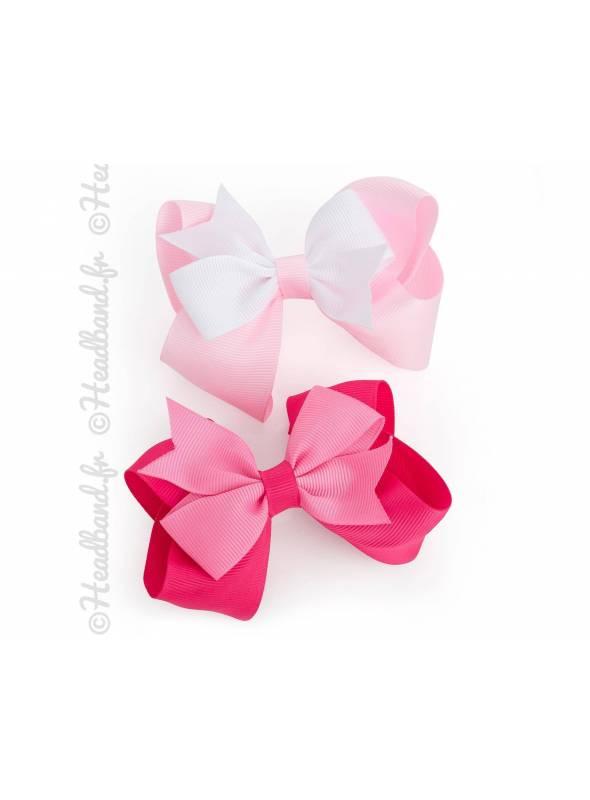 Barrette noeud rose en tissu bébé