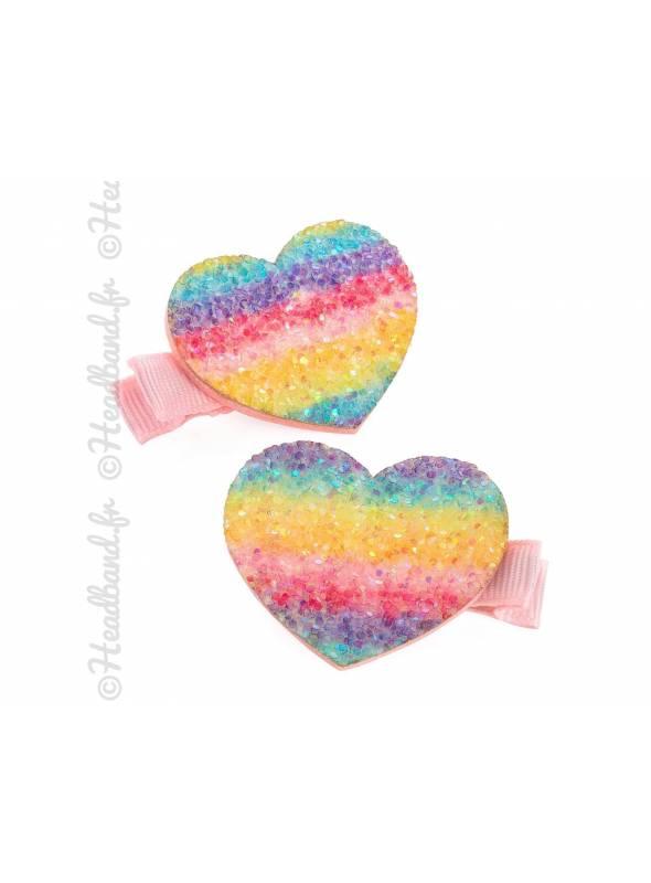 Barrettes coeur multicolores pailletté