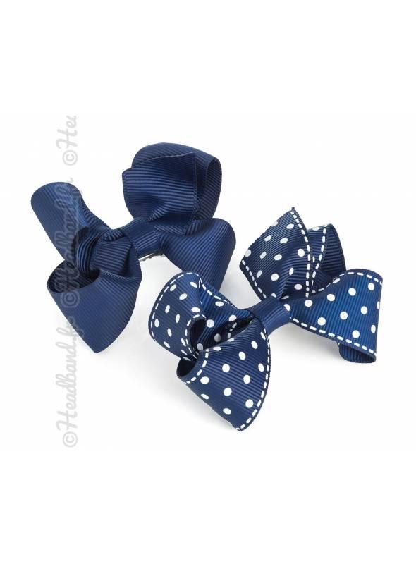 Barrettes tissu pois bleu lot de 2