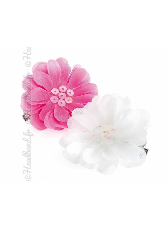 Barrettes fleur sequins blanc et rose