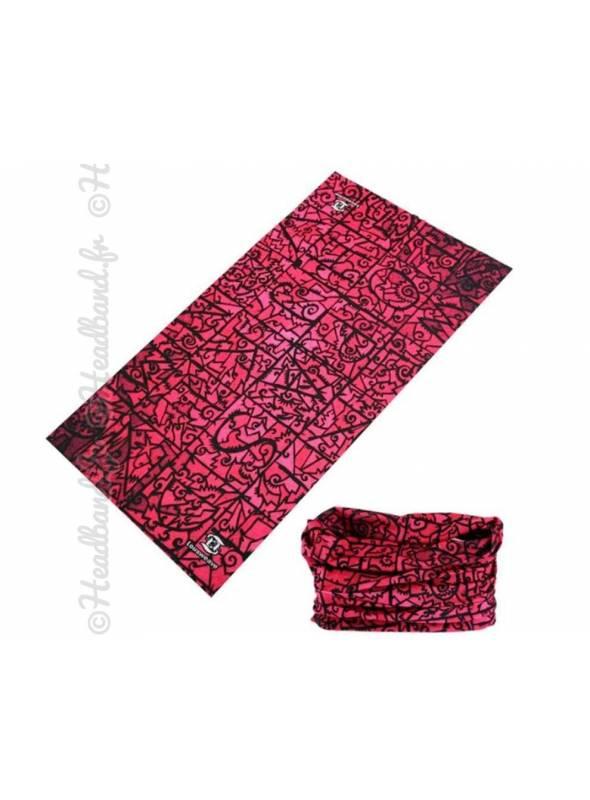 Headband multifonction imprimé rose et noir