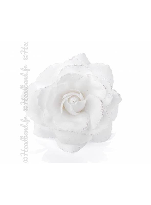 Pince rose glitter blanche