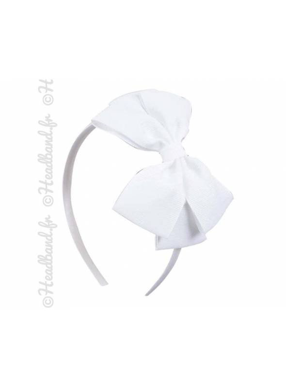 Serre-tête noeud fille blanc