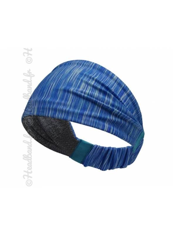 Bandeau fichu sport stretch bleu chiné