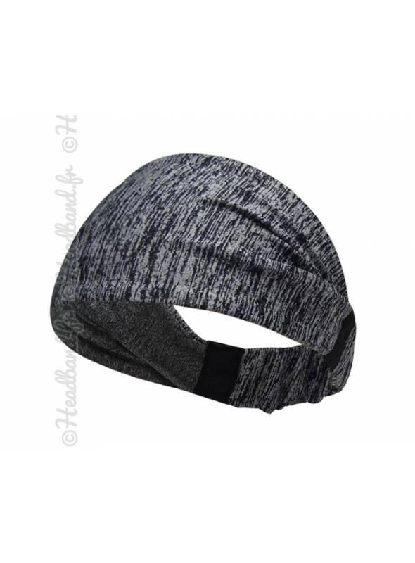 Bandeau fichu sport stretch gris et noir
