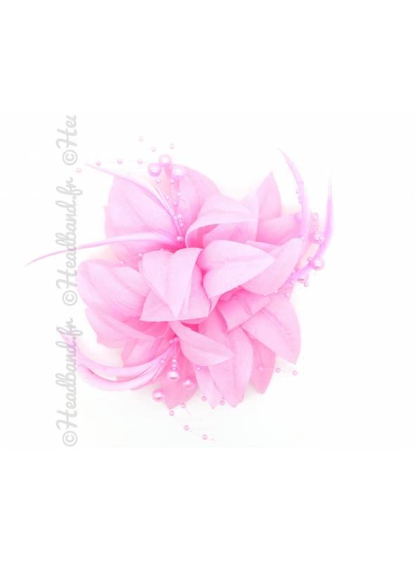 Barrette perles et plumes rose