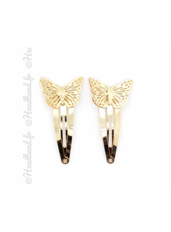 Barrette papillon doré clic-clac métal