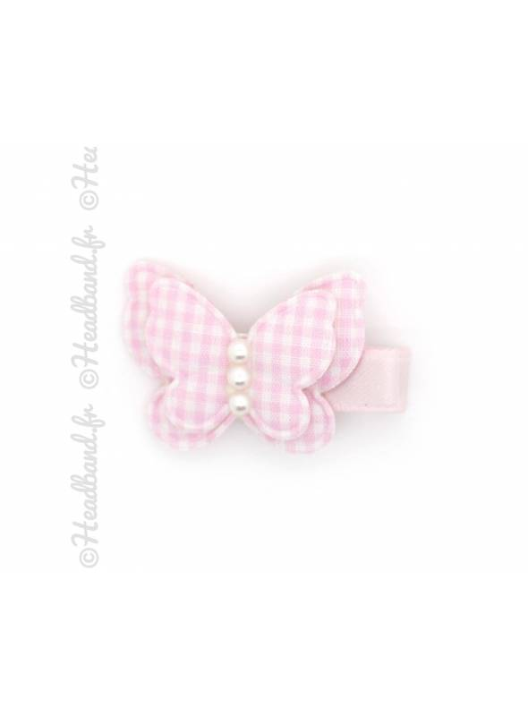 Barrette papillon vichy rose