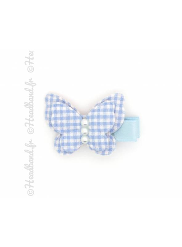 Barrette papillon vichy bleu