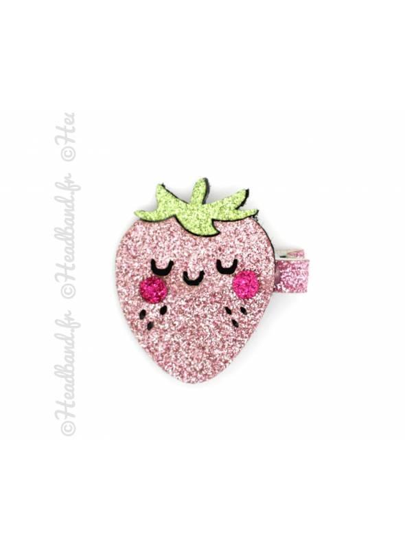 Barrette fraise paillettes kawai