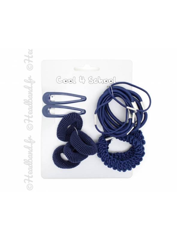 Lot de barrettes et élastiques bleu