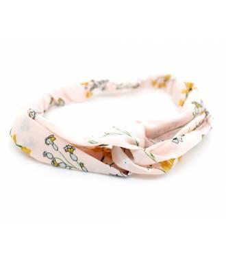 Bandeau cheveux rose pâle motif fleur