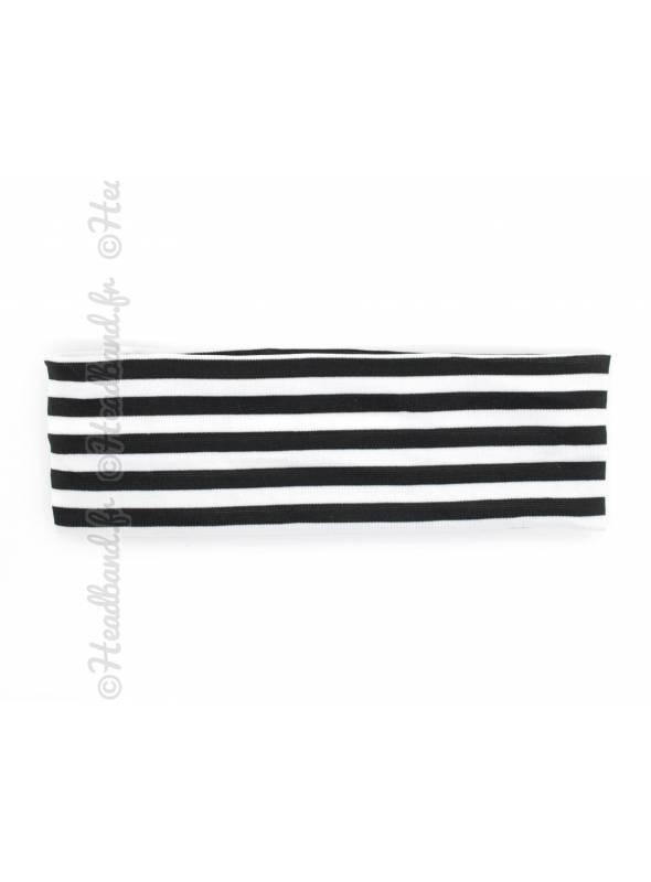 Bandeau large rayé noir et blanc
