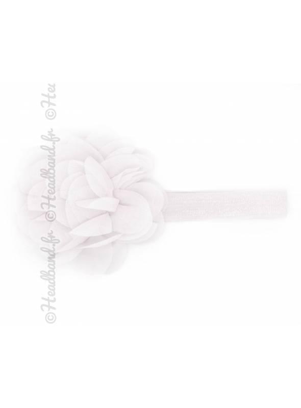Bandeau bébé grande fleur voile blanc