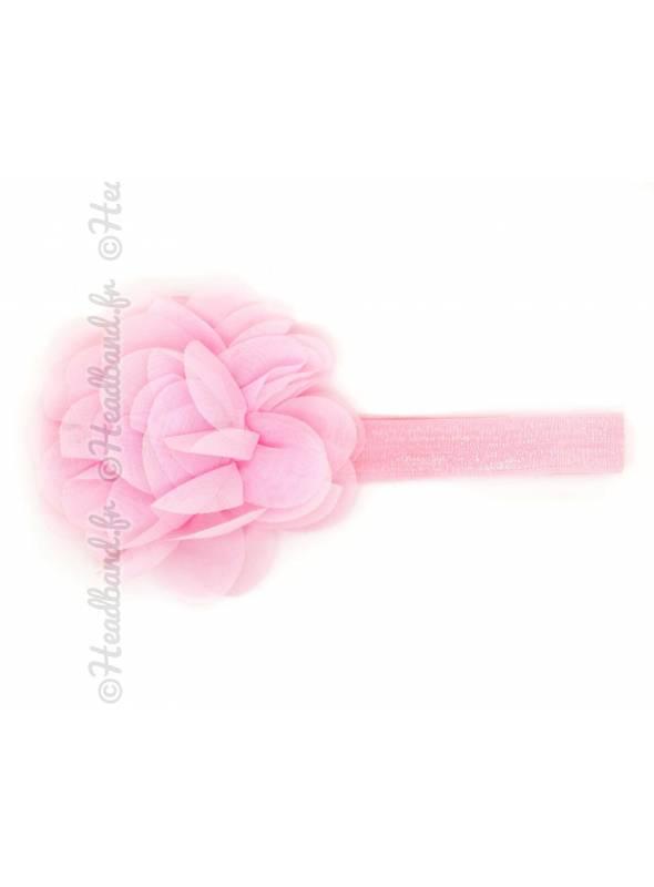 Bandeau bébé grande fleur voile rose