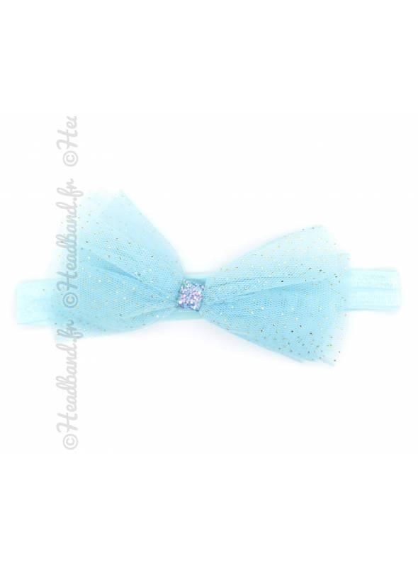 Bandeau noeud tulle bébé bleu
