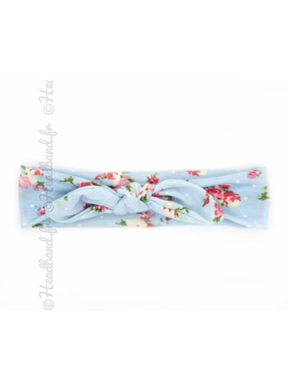 Bandeau noeud bébé fleuri bleu clair