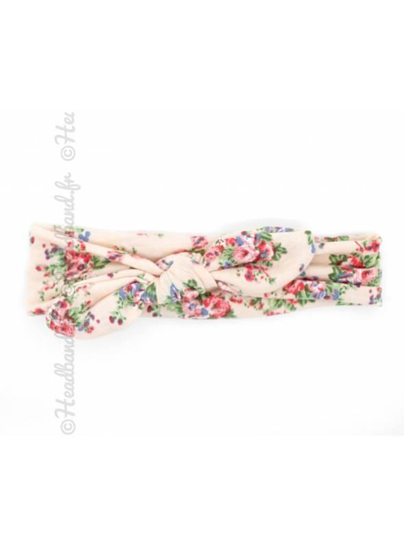 Bandeau noeud bébé fleuri rose
