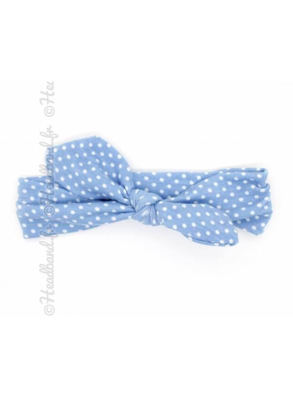 Bandeau noeud pois enfant bleu clair