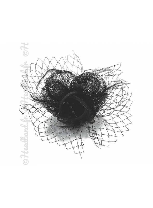 Bibi voilette plumes fleur noir