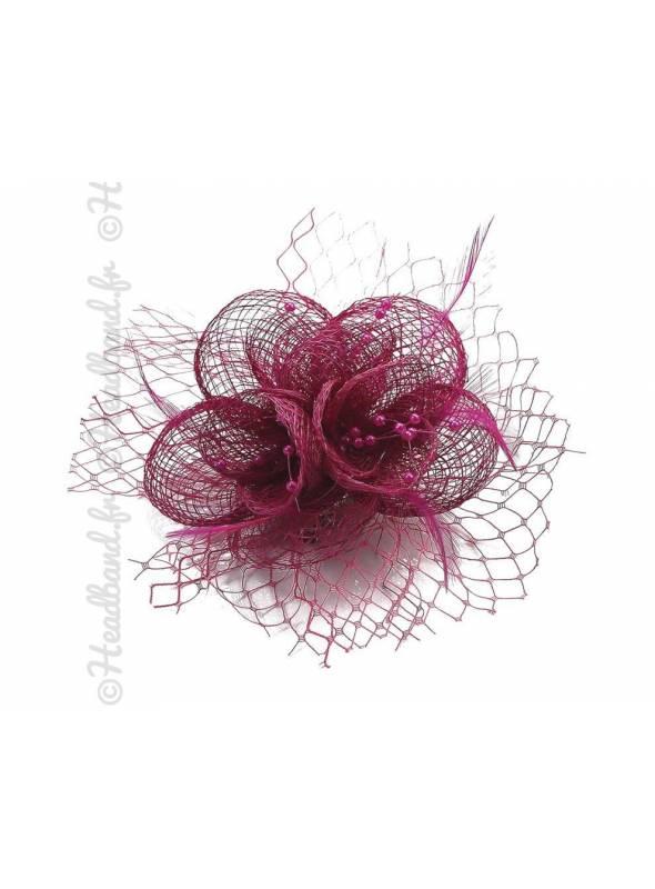 Bibi voilette plumes fleur rose