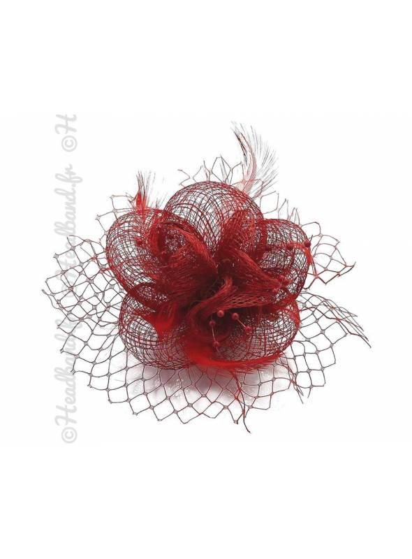 Bibi voilette plumes fleur rouge
