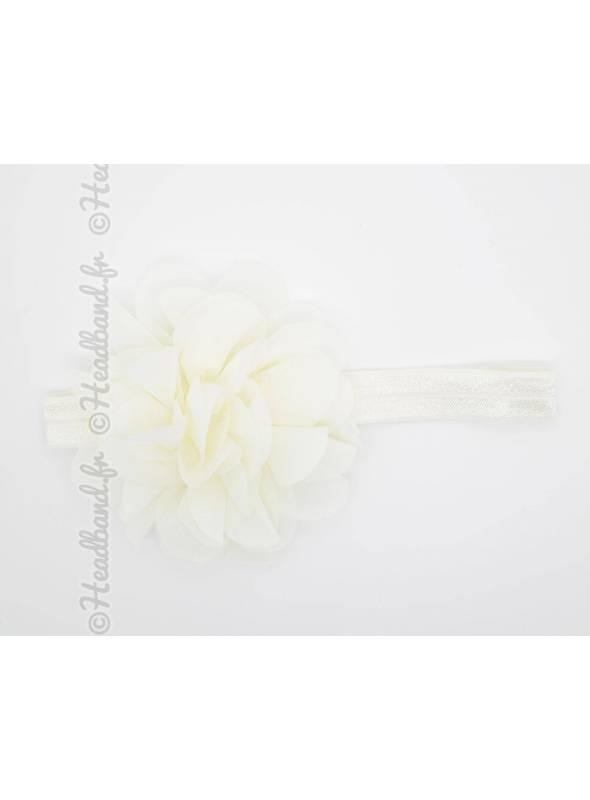 Bandeau bébé grande fleur voile beige