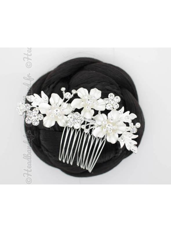 Peigne argenté fleur Louna