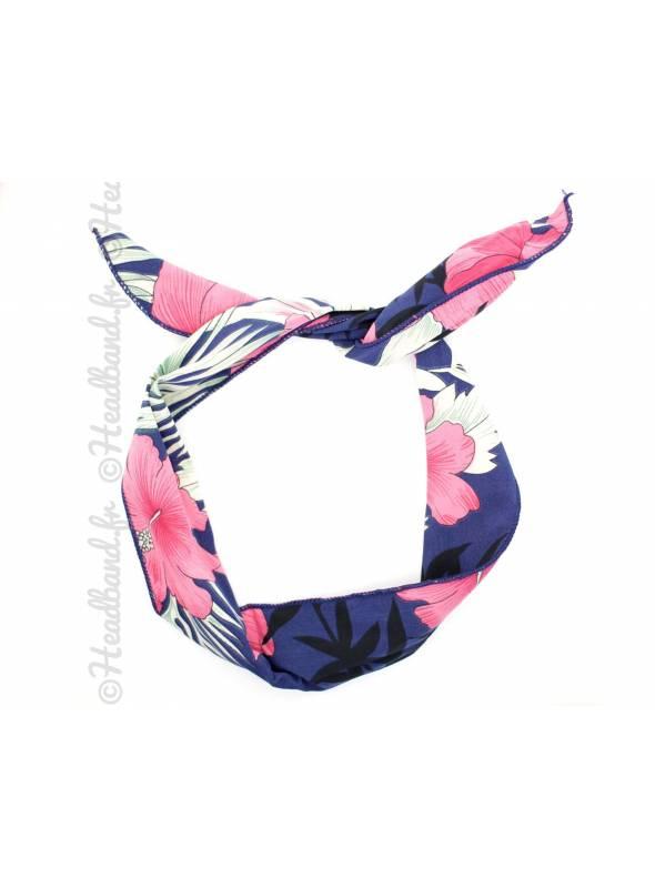 Bandeau à nouer fleurs tropicales bleu