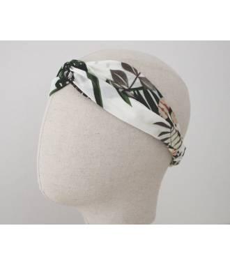 Bandeau turban feuillage palmier blanc