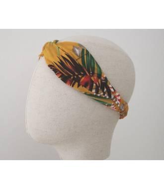 Bandeau turban feuillage palmier jaune