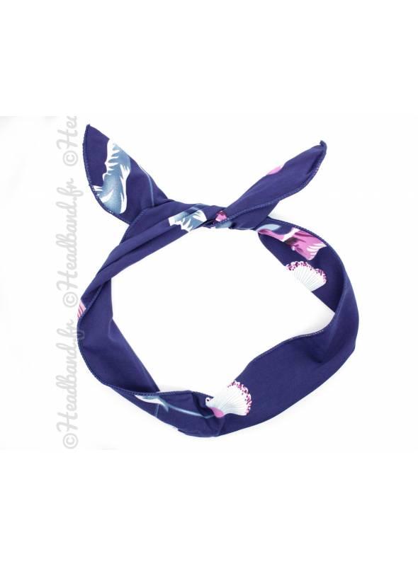 Bunny à nouer grande fleur bleu et rose