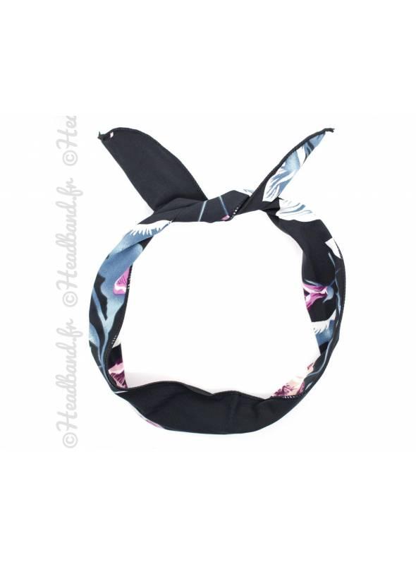 Bunny à nouer grande fleur noir et rose