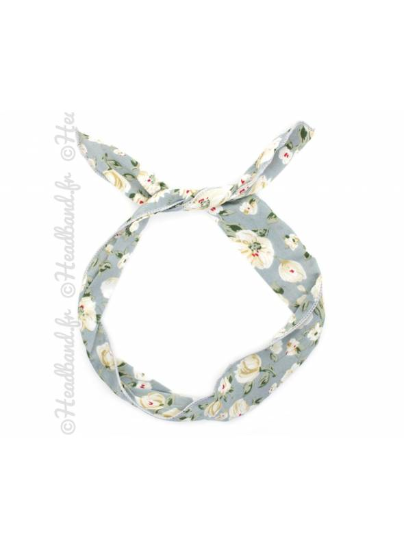 Bandana fil de fer fleur gris