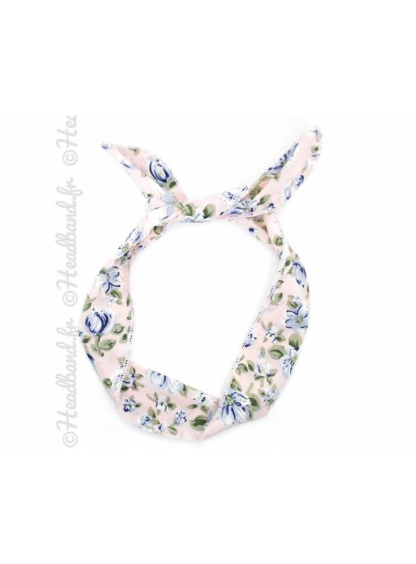 Bandana fil de fer fleur rose