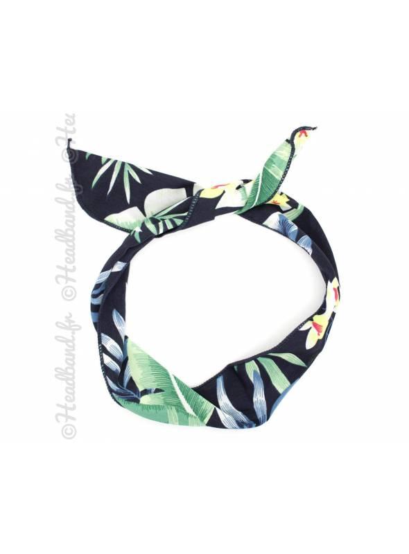 Bandeau fil de fer exotique palmier bleu