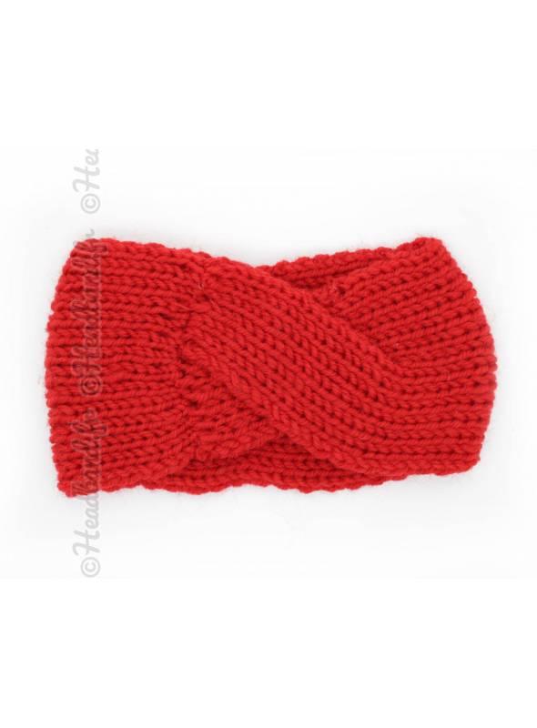 Bandeau laine croisé fillette rouge