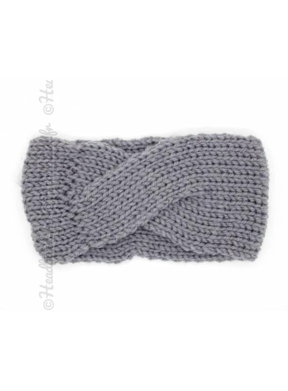 Bandeau laine croisé fillette gris