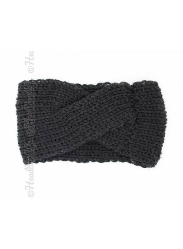 Bandeau laine croisé fillette noir
