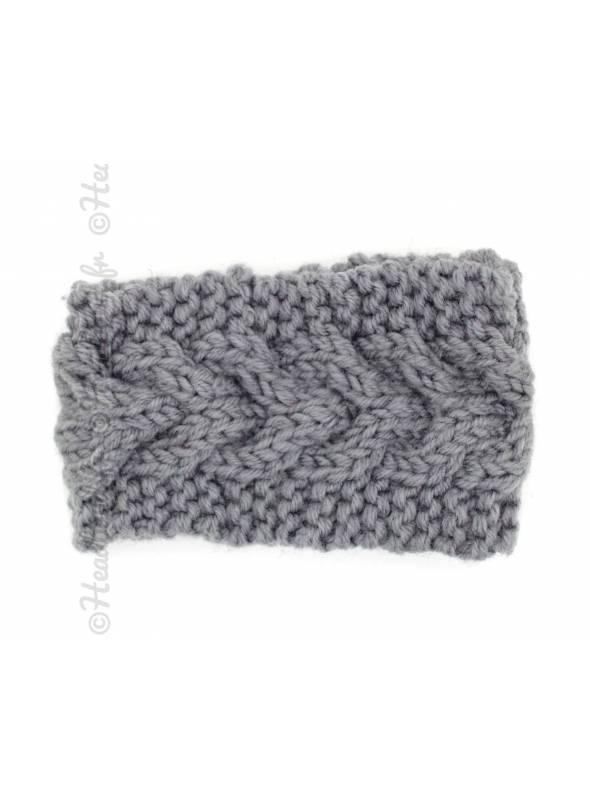 Bandeau laine chevrons fillette gris
