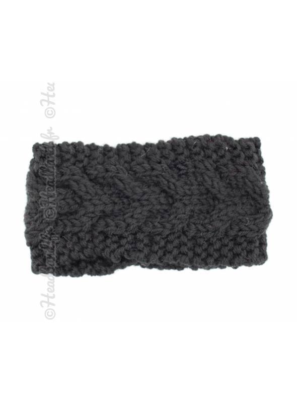 Bandeau laine chevrons fillette noir