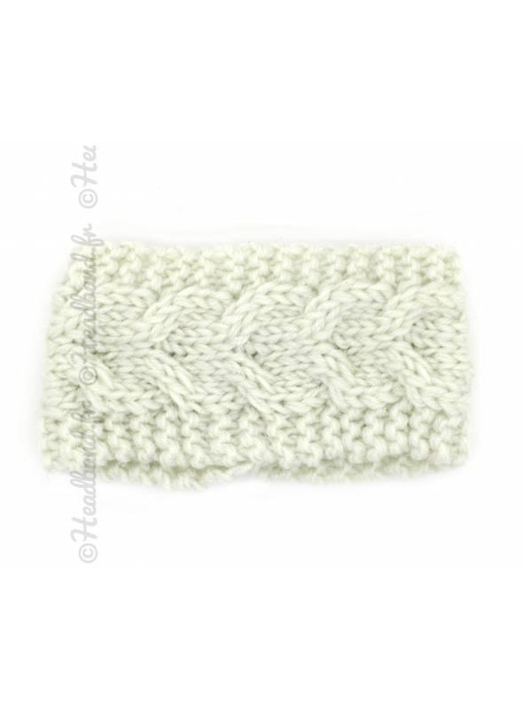 Bandeau laine chevrons fillette beige